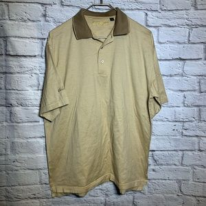 Ben hogan medium tan stripe golf shirt 2407